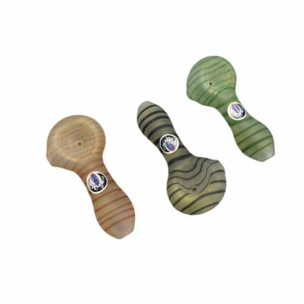 Crush Frosted Pinstriped Mini Spoon Glass Hand Pipe