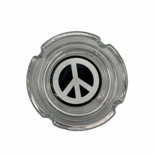 Glass Peace Sign Ashtray - BG Sales (4448932790404)