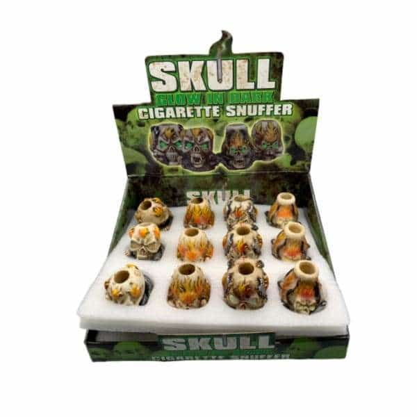 Glow In The Dark Skull Snuffer 24ct Display - BG Sales (4452535402628)