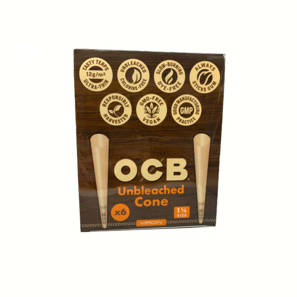 "OCB Virgin 1 1/4"" Unbleached Cones 