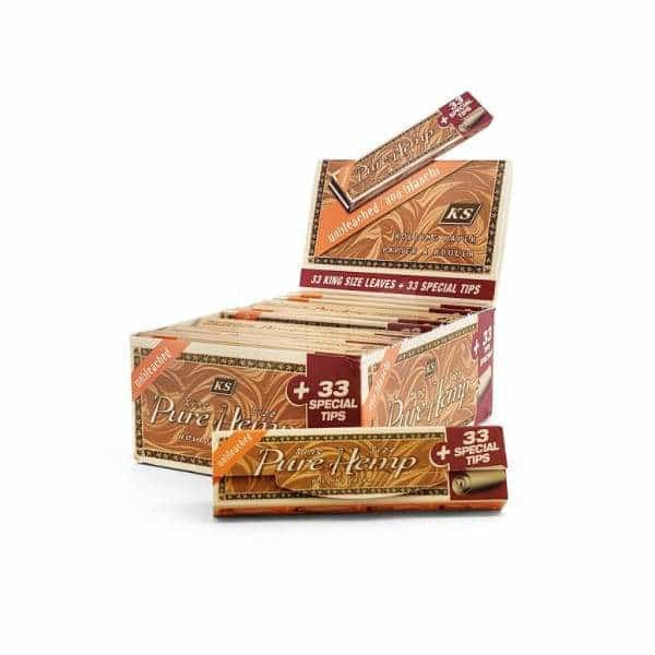 Pure Hemp Unbleached King Size Tips Rolling Papers