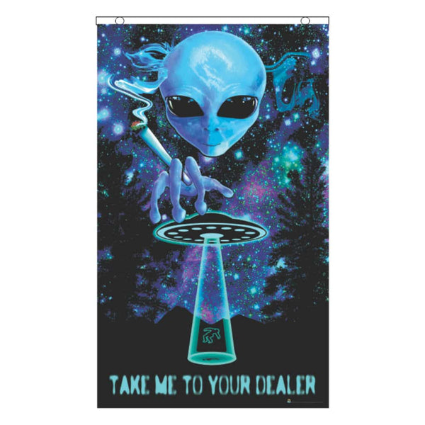 Take Me To Your Dealer Black-light Reactive Fly Flag (5291587764381)