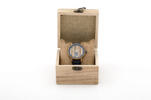 Botanica Watches Sycamore Zebrano Wood Face with Vegan Tan Strap