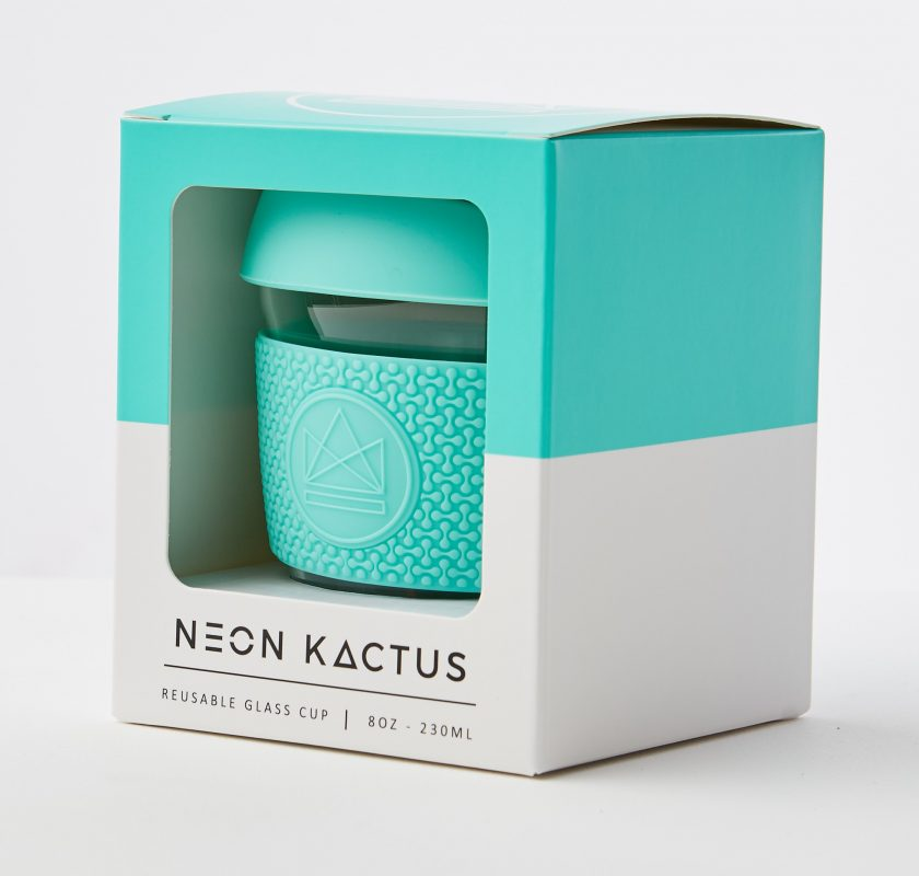 Neon Kactus Reusable Glass Coffee Cup – Free Spirit 8oz