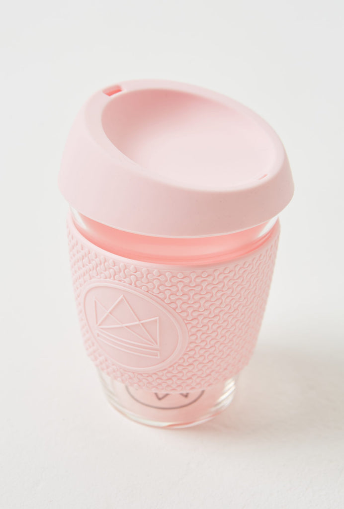 Neon Kactus Reusable Glass Coffee Cup – Pink Flamingo 12oz