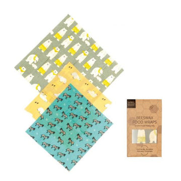 Beeswax Food Wraps – Animal Pattern – 3 Pack (2x Medium, 1x Large)