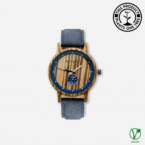 Botanica Watches Sycamore Zebrano Wood Face with Vegan Navy Strap
