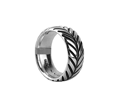 David Yurman CHEVRON Band Ring 10mm Sterling Silver Size 11 Box # 501