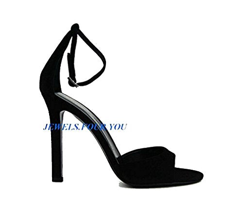 Tamara Mellon Shoes Designer Whisper Black Suede Leather Heel 4,5