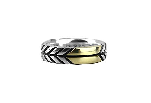 DAVID YURMAN ST. SILVER 18K GOLD 7mm MODERN CHEVRON BAND RING SZ 10#22