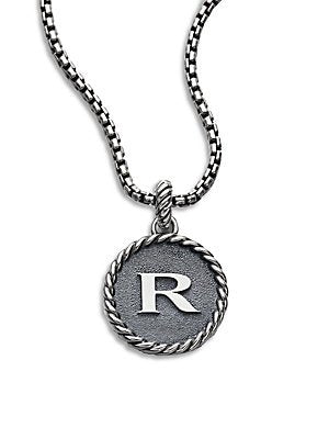 David Yurman Amazing Solid Sterling Silver Initial R 23 mm Round Pendant NO Chain