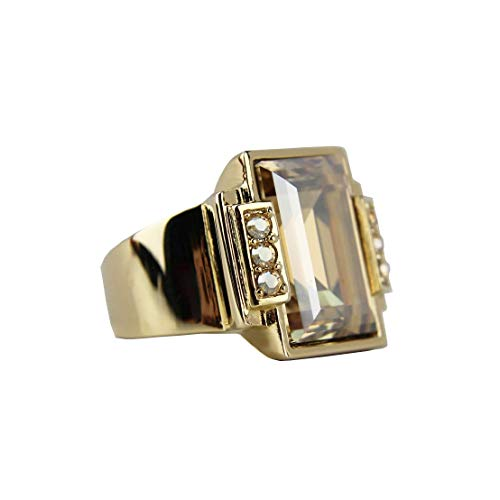 JUDITH LEIBER Deco CHERISSE Step Cut Crystal Ring Size 8# R24