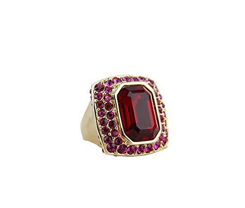 JUDITH LEIBER Bejeweled 18mm x 13mm Cut Fuchsia Rectangle Ring Size 7#R1