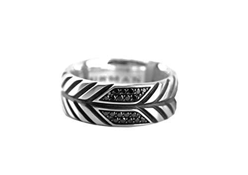 David YURMAN ST. Silver Black Diamond 10mm Modern Chevron Ring SZ 10#23R