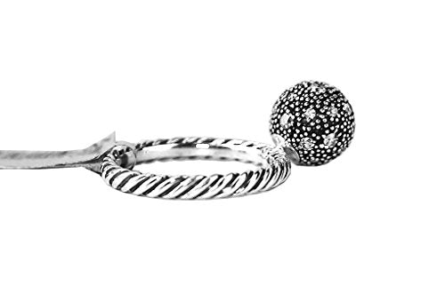 David Yurman BALL DAVID YURMAN STERLING SILVER 10 MM WHITE DIAMOND BALL SIZE 7 STACK RING NEW # 9
