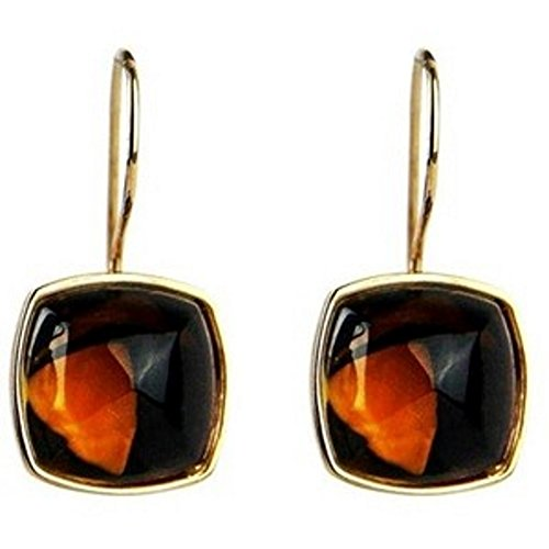 BACCARAT MEDICIS ST.SILVER VERMEIL GOLD BROWN CLEAR MORDORE WIRE EARRINGS