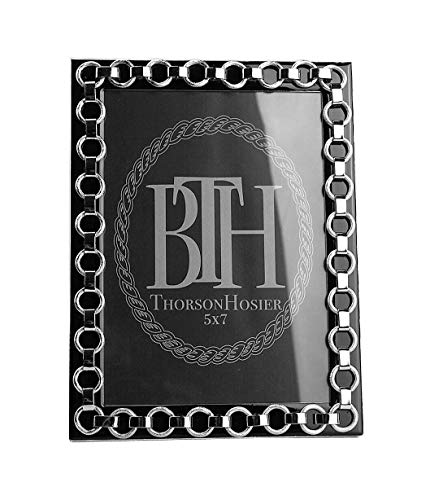 Thorson Hosier 5x7 Derby Black Enamel Silver Plated Frame USA #18 BX
