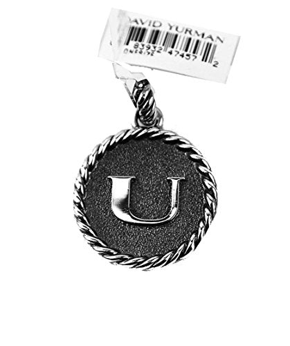 David Yurman Amazing Solid Sterling Silver Initial U 23 mm Round Pendant