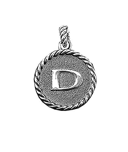 David Yurman Amazing Solid Sterling Silver Initial D 23 mm Round Pendant
