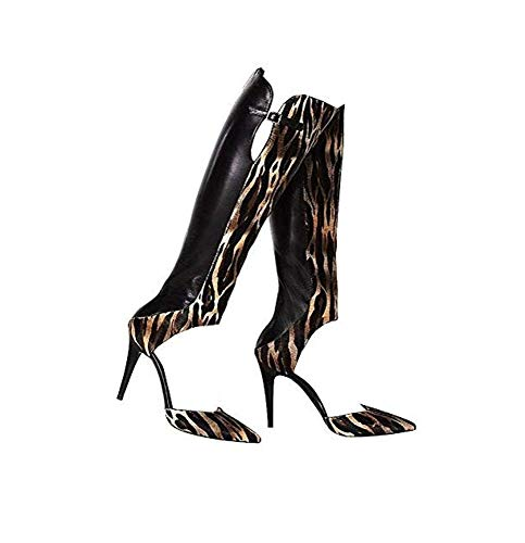 Tamara Mellon Criminal Jungle Calf Hair Open Boot Size 9.5 Black