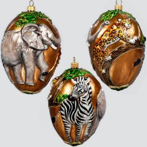 Jay Strongwater Jungle Scene Glass Ornament