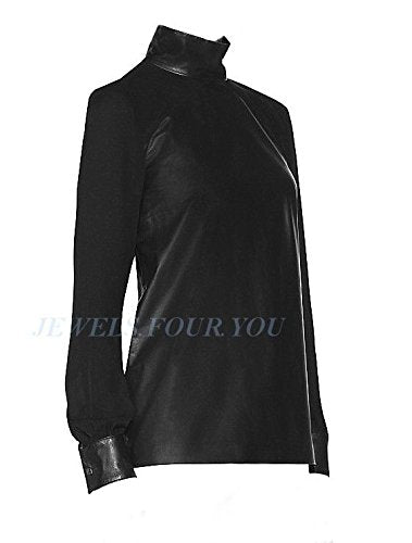 TAMARA MELLON CHIEF DESIGNER JIMMY CHOO BLACK LEATHER & SILK BLOUSE SIZE 6 NEW