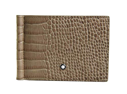 MONTBLANC MEISTERSTUCK 113342 6CC WALLET MONEY CLIP TAUPE LEATHER
