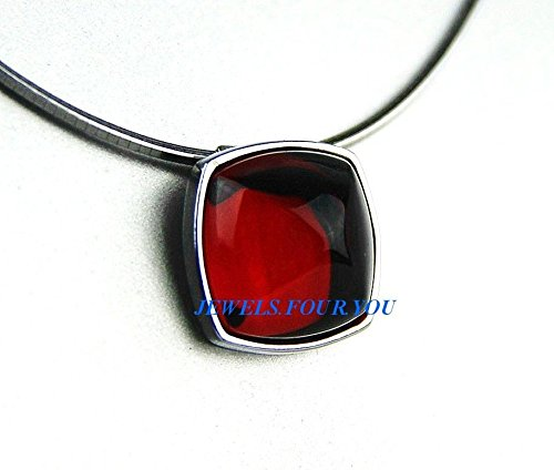 Baccarat Medicis Cabochon Sterling Silver Pendant Necklace Small Red Mirror