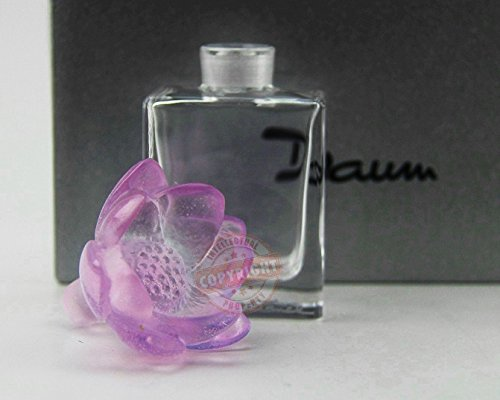 Daum Crystal Amazing Pink Lotus Perfume Bottle France Signed New Box