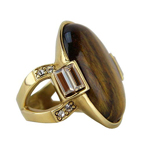 JUDITH LEIBER Sheba Oval Cabochon Crystal Ring Size 7# R41