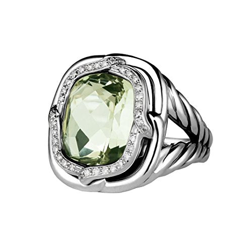 David Yurman ST.SILVER LABYRINTH DIAMOND & PRASIOLITE RING size 6