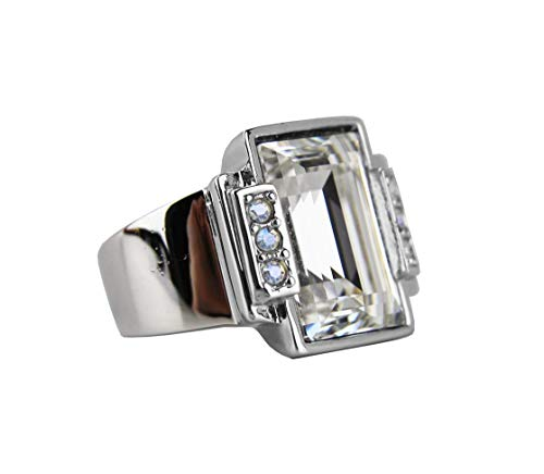 JUDITH LEIBER Deco CHERISSE Step Cut Crystal Ring Size 7# R23