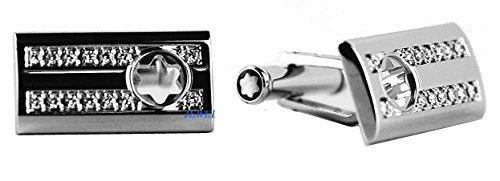 MONTBLANC STERLING SILVER SKELETON CUFFLINKS 3 RINGS DIAMOND NEW BOX 104486