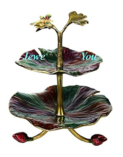 Jay Strongwater Foliage Two Tiered Lily Pad Stand Tray Swarovski New