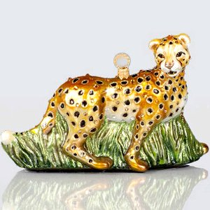 Jay Strongwater Cheetah Glass Ornament