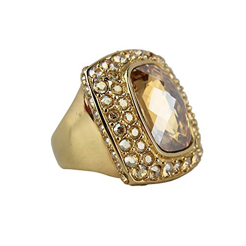 JUDITH LEIBER Facet Large Octagon Crystal Ring Size 7# R33