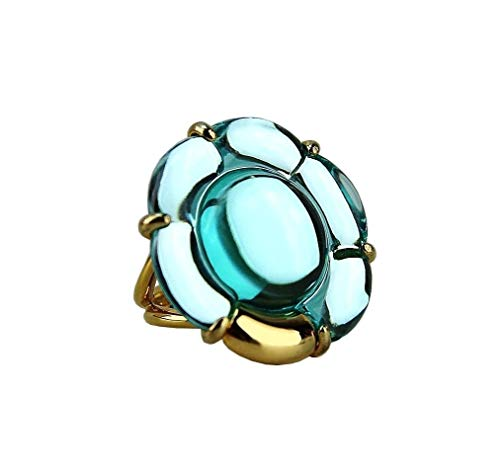 Baccarat Jewelry B Flower Vermeil Silver Light Blue Large Ring SZ 5.5-51 NO Box