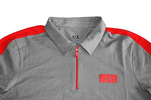 Armani Exchange Cotton Gray with Red Inserts Polo Shirt Size S
