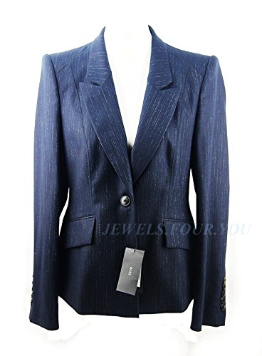 Hugo BOSS Dark Navy Stretch 98% Wool Blazer Jacket Size 12