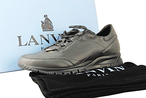 LANVIN 100% LEATHER GRAY SNEAKERS SHOES # 32 NEW ORIGINAL BOX