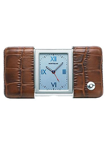 Montblanc Travel Sliding Blue Dial Brown Croco Leather Case Travel Clock 102374
