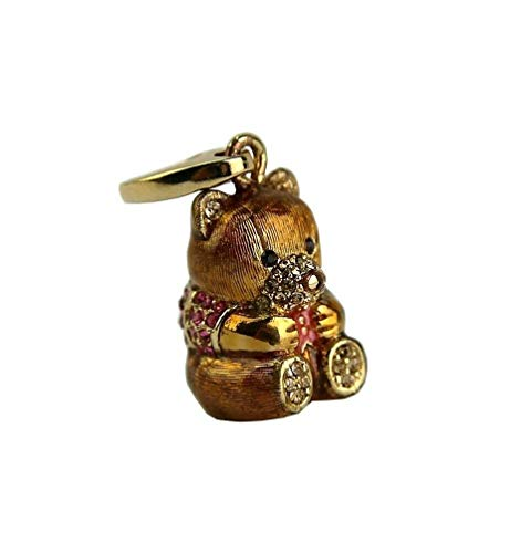 JUDITH LEIBER Adorable Bear Charm 925 Silver Gold Plated, WE Ship Same Day