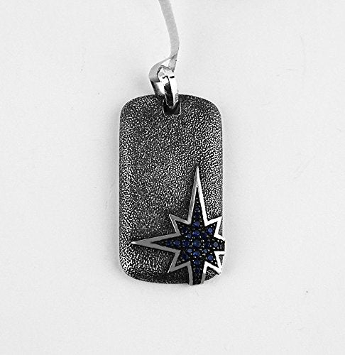 YURMAN AMAZING ST.SILVER NORTH STAR PENDANT DOG TAG SAPPHIRE # 628 NEW BOX