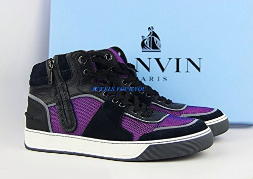 LANVIN Black Blue Pink Leather Suede Rubber Sole Shoes Zipper Sneakers Italy #4