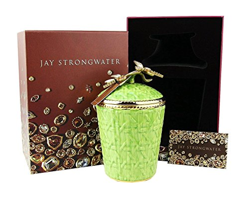 Jay Strongwater Ivy Dragonfly Green Woven Basket Candle Holder Swarovski New
