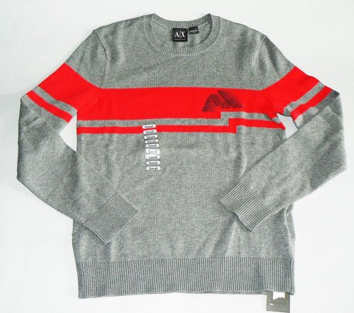 Armani Exchange 100% cotton Sweater Grey Red NEW Sz S