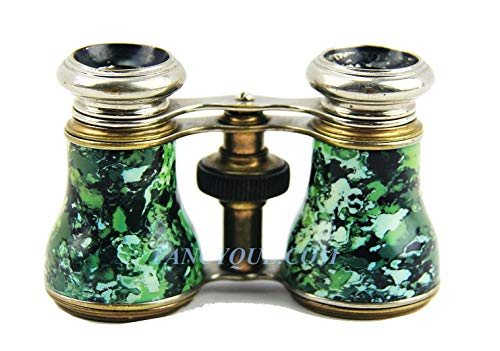 Antique FRENCH OPERA GLASSES with Green Decoration # 84