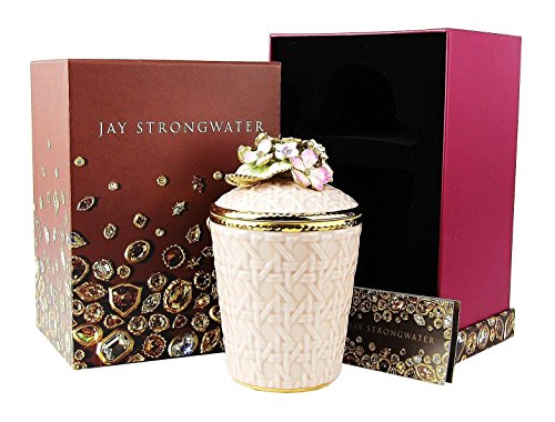 Jay Strongwater Hydrangea Riley Pink Woven Basket Candle Holder Swarovski New