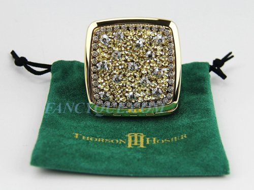 Thorson Hosier Compact Purse Mirror Square Golden Shadow Swarovski New USA Made