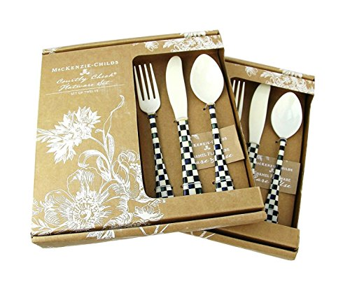 MACKENZIE CHILDS LOT OF TWO SET 12 PIECE (24) COURTLY CHECK ENAMELED FLATWARE NEW
